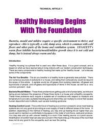 Legalett Technical Article: Healthy Housing Begins with the Foundation