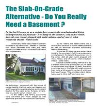 Legalett Technical Article: The Slab-on-Grade Alternative - Do You Really Need a Basement?