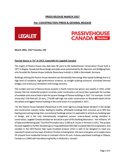 Legalett Joins Passive House Canada to Promote Passive House Standards in Construction throughout Canada