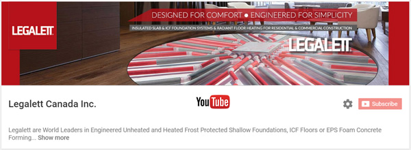 View Legalett Frost Protected Shallow ICF Slab Foundations & Air-Heated Radiant Floor Videos on YouTube