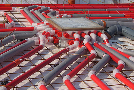 The Legalett Heated Floor System is a network of pipes from a furnace box that is case in the slab
