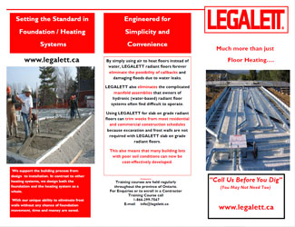 Legalett Brochure - Installer Benefits for Frost Protected Shallow Foundations and Air Heated Radiant Floor Heating System - Toronto, ON