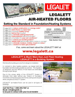 Legalett Brochure - Setting the Standard with Frost Protected Shallow Foundations and Air Heated Radiant Floor Heating System - Toronto, ON